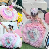 Colorful Flower Girls Dress 3D Floral Appliques Pearls Beading Children Birthday Party Dresses Ball Gown Wedding Prom Formal Wear