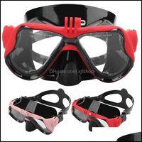 Mergulho Água Esportes Outdoors Máscaras De Máscaras Óculos de Mergulho Máscara Máscara Snorkeling Vidro Temperado Ajustável Ajustável Sil Strap Natação Óculos
