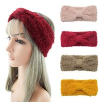 Winter Warm Wide Knitted Headbands For Women Bows Knotted Crochet Elastic Hair Bands Girls Fashion Solid Color Hair Accessories