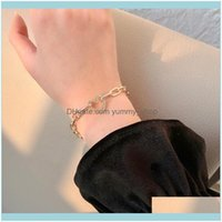 Link, Chain Bracelets Jewelryhigh Quality Luxury Korean East Gate Temperament Love Inlaid Diamond Personality Simple Geometric Round Bracele