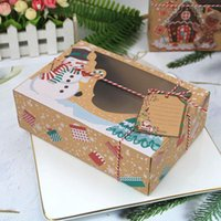 Christmas Decorations 2-6Pcs Set Large Size Thanksgiving Candy Cookie Kraft Paper Box With Plastic Pvc Window Gingerbread Chocolate