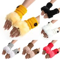 Sports Gloves Women Knit Wool Thicken Plush Warm Winter Faux Fur Wrist Short Half Fingerless Mittens
