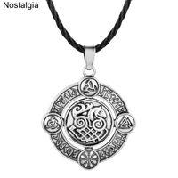Kolye Kolye Nostalji Norse Viking SleiPNIR At Odin Horn Triquetra Valknut Huşu Elder Futhark Halm Muska Kolye Runes