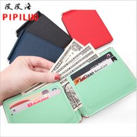 The wallet Men's fashion short magnetic Pu Pimei wallet RFID two fold metal WALLET banknote clip