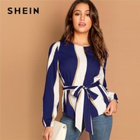 Women's Blouses & Shirts SHEIN Modern Lady Navy Self Belted Striped Scoop Neck Shirt Pullovers Top Women Streetwear Autumn Minimalist Elegan