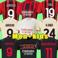 Tailandia 21 22 AC milan Camisetas de fútbol IBRAHIMOVIC 2021 2022 TONALI Mandzukic Kessie brahim Hombres juegos de niños Uniformes de camiseta de equipo de fútbol maillot de foot