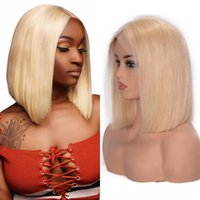613 Blonde Straight Malaysian Human Hair Wigs for Women 13x4 Short Bob Lace Front Wig Pre-Plucked Hairline