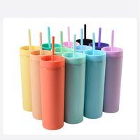 Großhandel 16 oz acryl skinny tumblers matt farbige acrylbecher mit deckel und strohhalme doppelwand kunststoff tumbler mit stroh