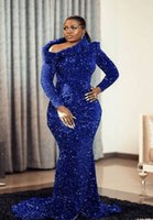 Royal Blue Sequins Mermaid Prom Party Dresses For Arabic Aso Ebi Style 2022 Long Sleeves Plus Size Sweep Train Evening Occasion Gowns Vestdios De Novia