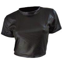 Women Faux Leather T-Shirt Crop Tops Short Sleeve Sexy Punk Midriff Tee Clubwear Shirt Women's