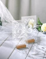 Party Decoration Acrylic Calligraphy Wedding Table Numbers With Holders Clear Plexiglass Signs Wood Number Stand