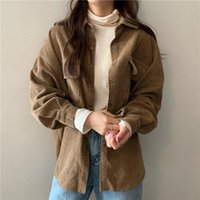 Women's Jackets Casual Autumn Basic Outerwear Spring Women Street Full Sleeve Turn-Down Collar Coats Oversized Solid Corduroy Shirts