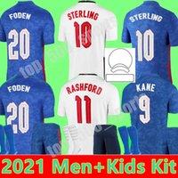 Homens + Kit Kids 2021 National Soccer Jerseys Foden Kane Inglaterra Sterling Rashford Sancho Henderson Home Away Youth 21 22 Camisas de Futebol Conjuntos Uniformes