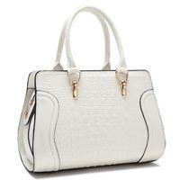 Mode kvinna väskor krokodil mönster casual totes väska brud bröllop solid färg bärbar patent läder damväska