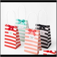 Wrap Event Festive Party Supplies Home & Gardensmall Paper Bag With Handles Bow Ribbon Stripe Handbag Candy Festival Gift Packaging Bags Jew