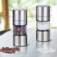 Machine Pepper Salt Spice Shaker Portable Refillable Stainless Steel Salt Pepper Mill Spice Sauce Grinder for Household Kitchen OWF9334