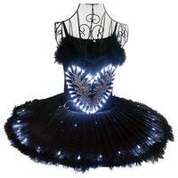 Ballet negro Tutu Faldas LED Luz Adulto Ballet Traje Ballerina Vientre Danza Danza Ropa de baile Niñas Niñas