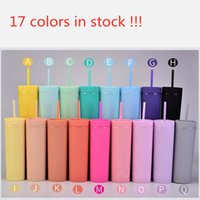 16oz mugs matte 17colors acrylic tumbler skinny tumblers plastic double wall coffee mug with lids and straw