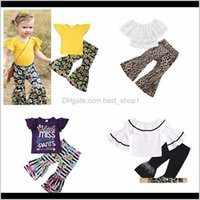 Sets Baby Baby, Kids Maternity Drop Delivery 2021 2Pcs Lot Children Suits Summer Fashion Girls Lace Top & Leopard Bell-Bot Childrens Clothing