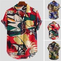 2021 T-shirt imprimé de Mens d'été Coton Casual Hawaiian Flower Beach Resort Shirt à manches courtes