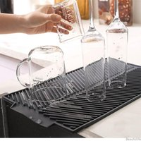 Silicone Square Dish Drying Mats Heat Resistant Draining Tableware Dishwaser Durable Cushion Pad Dinnerware Table Mat Placemat NHA6261