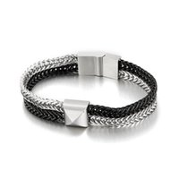 Link, Chain HAOLYNJOY 6mm Double Layer Link 316L Stainless Steel Bracelets Men's Biker Bracelet On Hand Jewelry