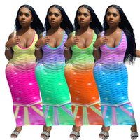 Fish scale two-tone print sleeveless dress Summer womens Party Dresses Sexy Mermaid Gradient colors slim long skirts fashion streetwear plus size clothing