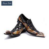 Christia Bella Classic Sapato الاجتماعية Masculino أنيقة الأزهار الرجال اللباس أحذية الذهب الصلب تو متعطل دعوى brogues مكتب الأحذية البني الأحذية C6PM #