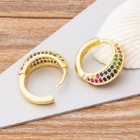 Dangle & Chandelier Charm Copper Zircon Round Circle Earrings Cute Hoop Colorful White Colors For Women Girls Party Wedding Jewelry