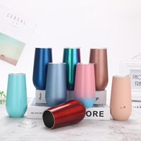 6oz Egg Shaped Mug 19 Colors Eggshell Champagne Glasses Stainless Steel Tumbler Beer Wine Glasses Vacuum Insulated Cups By Sea EWB10309
