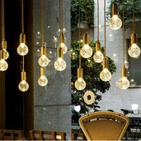Nordic hemp rope pendant lamp modern creative led G9 crystal glass retro industrial for Shop window bedroom living room F-PL090