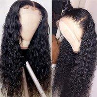 Parrucche anteriori anteriori in pizzo sintetico sciolto nero sciolto Glueless Long Wave Wave resistente al calore in fibra di fibra parrucche in pizzo sintetico per le donne