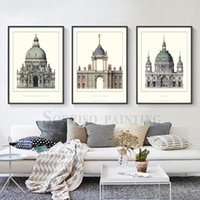 Paintings Europe Retro Classic Church Architecture Building Canvas Painting Posters And Prints Wall Art Pictures Living Room Home Decor