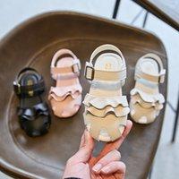 2021 مراقب النمر الصيف أحذية الأطفال الجديدة الكورية نمط فتاة مغلقة تو الأميرة الصنادل طالب زهرة الأطفال أحذية