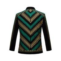 Мужские костюмы Blazers Pyjtrl мужская спортивная куртка с вышивкой, сценическая петь пальто, одежда, барвересцентный плюс размер, Blazer Design E0in