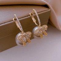 Hoop & Huggie Origin Summer Temperament Cubic Zircon Bow-knot Earring For Women Exquisite Oversize Simulation Pearl Gold Jewelry