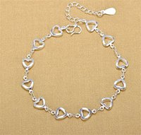 Kobiety 925 Sterling Sliver Bransoletki Handwear Moda Charm Love-Heart Wisiorek Anklets Bransoletka Dwa Typ Biżuteria Walentynki Prezent 154 J2