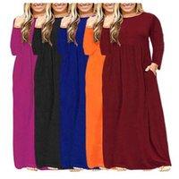 Loose Dress Plus Size long Sleeve Elegant Empire oversize dresses woman O-neck sexy fashion solid pocket cloth Women Basic Vestidos