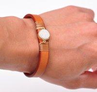 Tennis Natural Fashion Druzy Elegant White Gemstone Handcraft Leather Bracelet Cuff Wristband Bangle Mens Women's Orange Brown