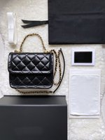 Crossbody мини ручная сумка сцепления кожаные женские сумки классические роскоши дизайна TOFU пакет золотая цепь черный ягненок кошелек из овчины кошельки оптом