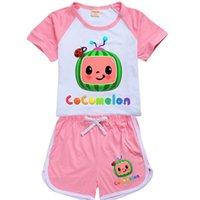 COCOMELON Karikatür Baskılı Çocuklar Yaz Eşofman Kısa Kollu + Şort İki Parçalı Suit Giyim Şeker Renkler Spor Rahat Kıyafetler Giysileri G496FSR