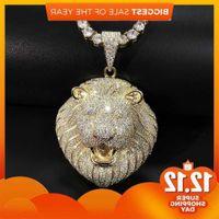 Iced Out Necklace 3 Colors Micro Pave Cubic Zircon Lion Head Pendant for Men Women Luxury Hip Hop Jewelry J1218