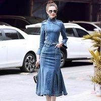 Casual Dresses Autumn Spring Vintage Elegant Bodycon Long Denim Dress Female Fall Slim Sexy Ruffle Trumpet Maxi Jeans Robe