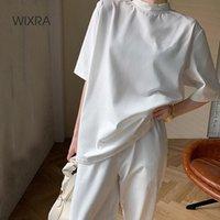 Wixra Womens Spring conjuntos elegantes de manga corta Tee + Cintura elástica Harem Pantalones de Harem Soft High Street Trajes de verano Dos piezas de las mujeres
