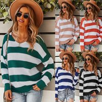Women Striped Patchwork Knitted Sweaters Fashion Casual Long Sleeve Crewneck Color Block Autumn Winter Ladies O-neck Jumper Pullovers Top Soft Warm Pull Femme