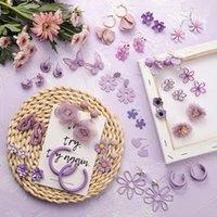Mengjiqiao 2020 Корейский Новый Мода Фиолетовый Цветок Геометрические Сердца Серьги для Женщин Студенты Праздники Пендиентские Ювелирные Изделия