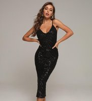 Casual Dresses 2021 Women Sexy Designer Mid-calf Black Bandage Dress Elegant High Street Sequins Sparkly Prom Celebrity Party Vestido