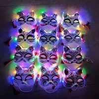 2022 Halloween Upper Half Cat Face LED Light Up Funny Masks The Purge Election Year Great Festival Cosplay Costume Supplies Party Mask