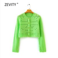 Zevity women fashion hollow out knitting casual slim sweater female basic o neck long sleeve sweater chic cardigan tops S311 210603
