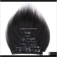 In / auf Produkte Drop Lieferung 2021 in Erweiterungen 120g Natürliche Verlängerung Hine Remy 8 PCS Seidige verworrene Gerade Menschliches Haar Clip Ins 0DTJR